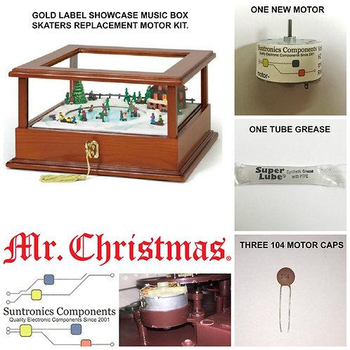 MR. CHRISTMAS GOLD LABEL SHOWCASE MUSIC BOX SKATERS Motor K