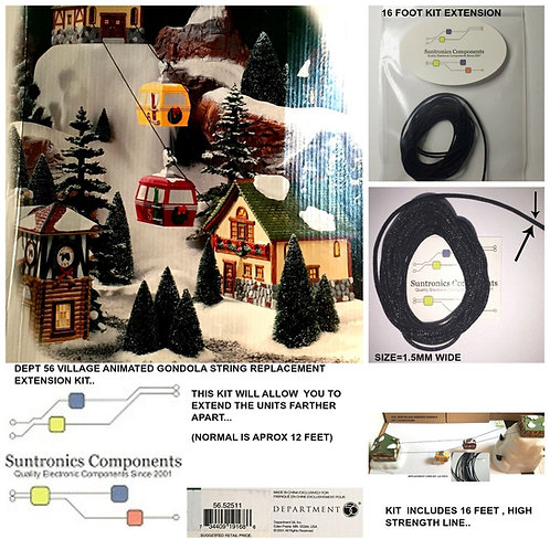 Dept 56 -Village Animated Gondola -REPLACEMENT ROPE PART KIT-12 FT-734409191686