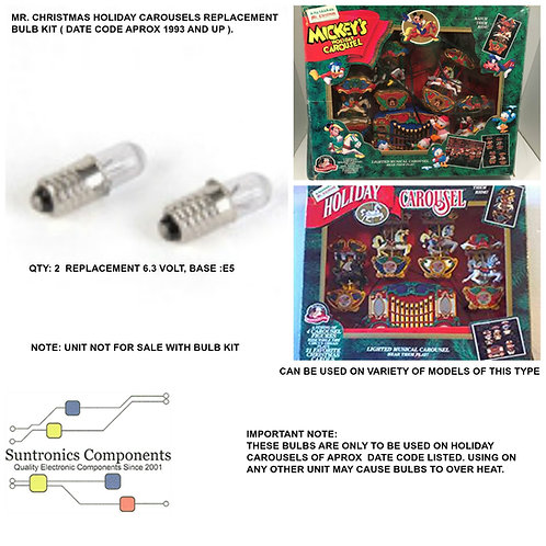 Mr. Christmas Holiday Carousels replacement 2 Bulb kit.