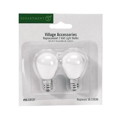 Dept 56 Replacement Set of two 3 volt bulbs for use with many Village