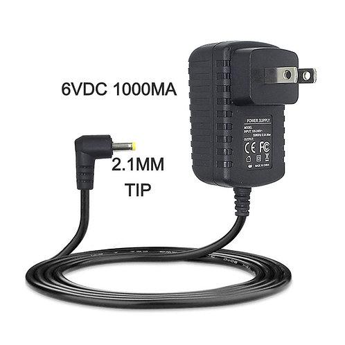 Specifications: Input 100V-240Volt, Output 6V 1000MA, 90 degree 2.1mm female tip