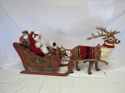 Christmas-Holiday-Creations-Animated-Reindeer-Santa-Claus-Sleigh