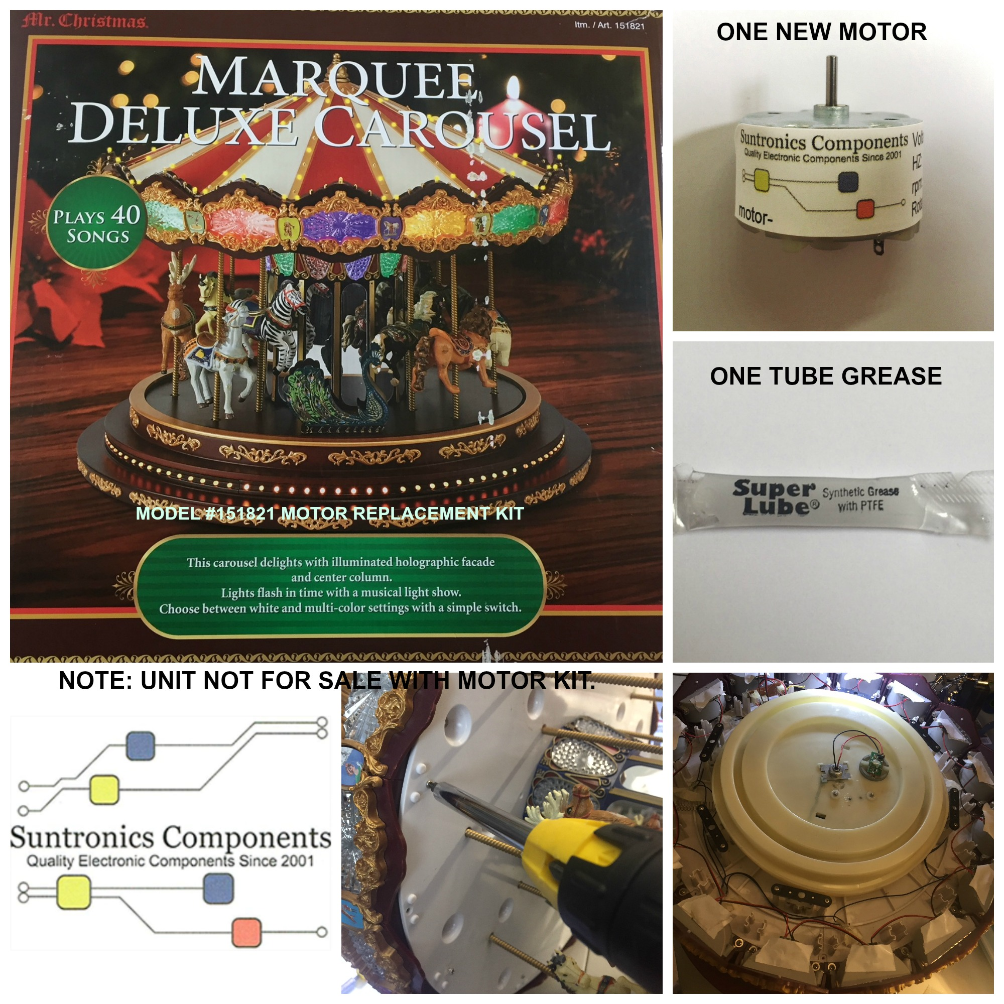PicMonkey Image MR CHRISTMAS MARQUEE DELUXE CAROUSEL MODEL# 151821 MOTOR KIT