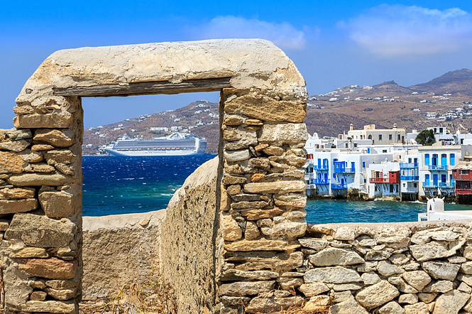 Mykonos view in to the bay
