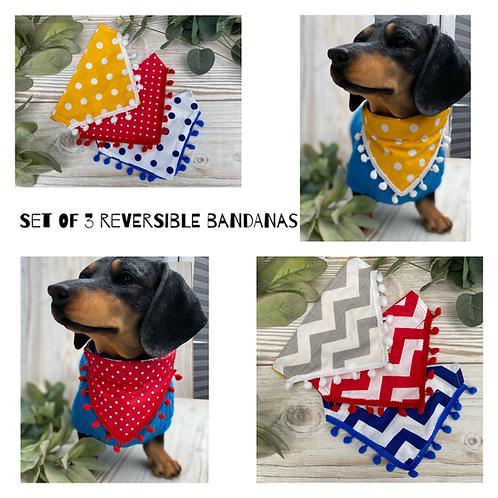 Set of 3 Chevron & polka dot bandanas