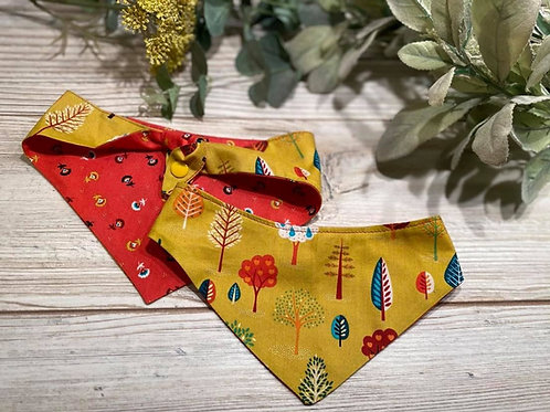 Mustard Folk Trees/Red Sprig Tie Bandana