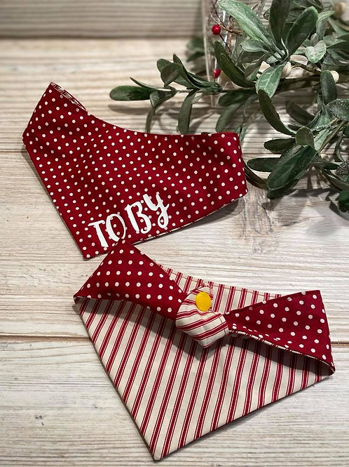 Personalised Red Polka Dot Tie Bandana