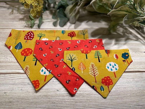 Mustard Folk Trees/Red Sprig Collar Bandana