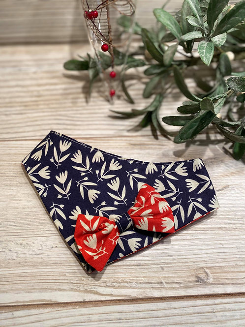 Navy Tulip Bandana with Contrast Red Bow