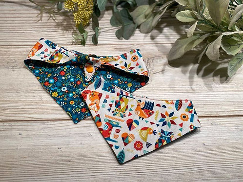 Woodland Animals/Folk Flowers Tie Bandana