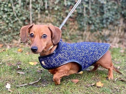 Blue/White Fleck Wool Tweed Coat