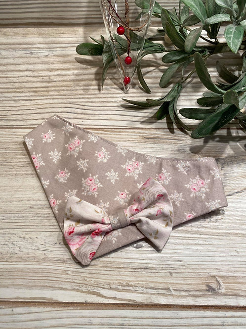 Taupe/Pink Rose Bandana with Bow