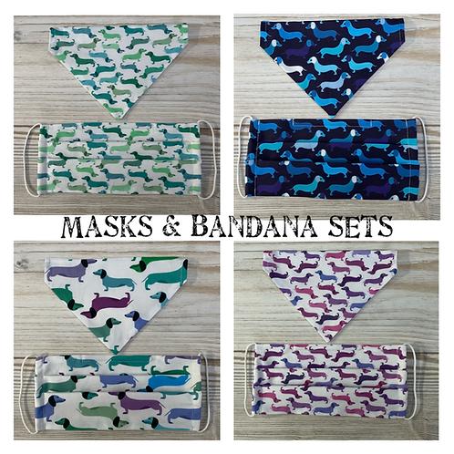 Dog Bandana & Matching Mask Set