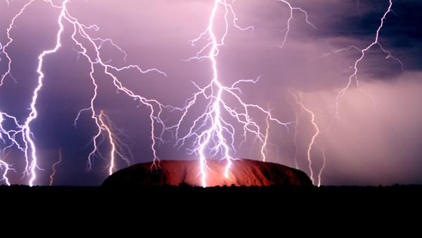 Lightning over Uluru