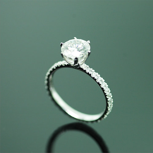 SIX PRONG SOLITAIRE ENGAGEMENT RING with 1 row of diamond pavé (BAND  ONLY)