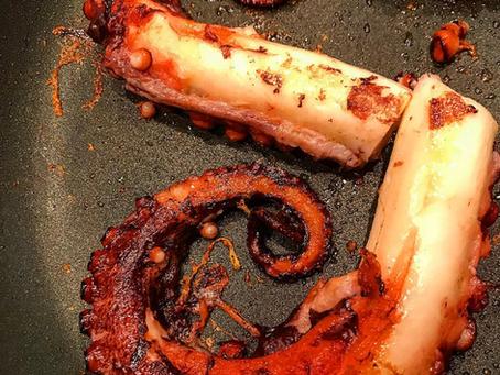 Polpo alla piastra marinato con paprika affumicata e senape