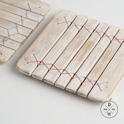 Bamboo Coaster Whitewash
