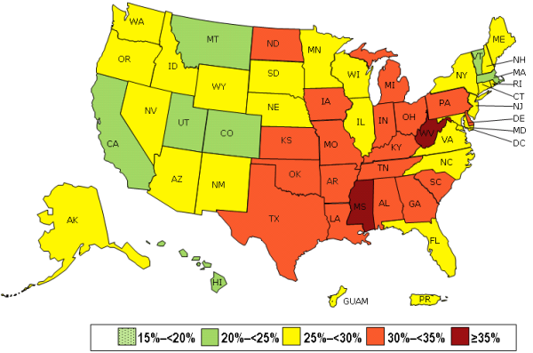 2013 Prevalence of Obesity in the US - Retrieved from  http://www.cdc.gov/obesity/data/prevalence-maps.html