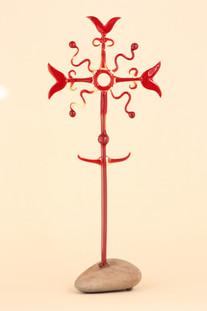 Red glass cross