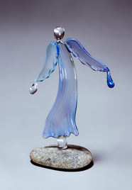 Blue glass angel with drops