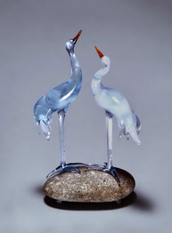 Blue glass birds sculpture