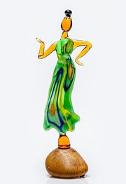 Green glass lady statue
