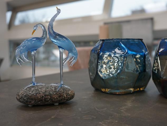 Glass sculpture in the interior