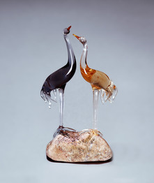 Glass couple birds