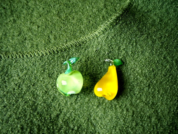 Glass fruits brooches