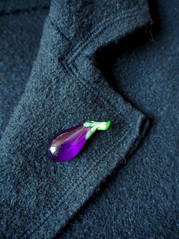 Glass eggplant brooch