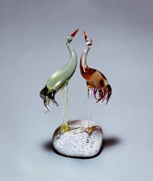 Transparent glass birds