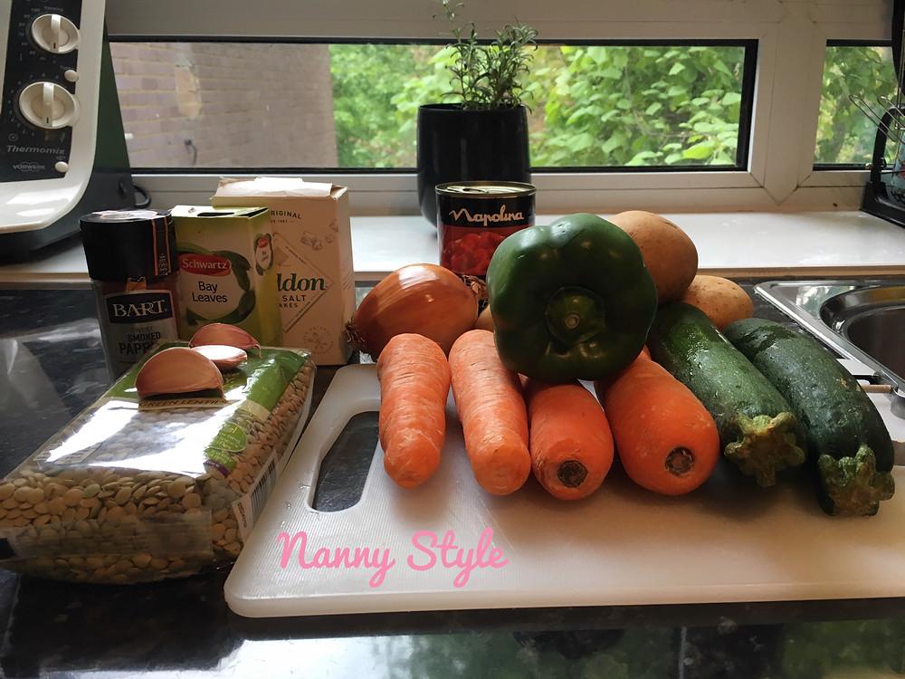 Ingredientes lentejas Ingredients lentils