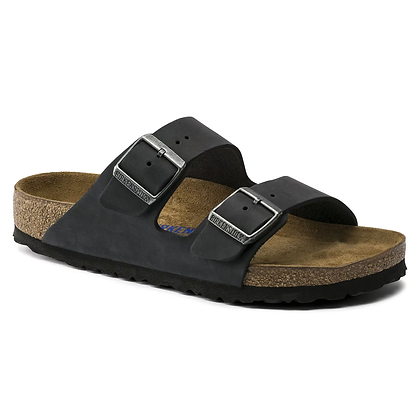 Birkenstock - Arizona Oiled Leather Soft Footbed Black