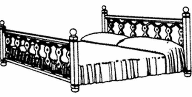 Double Bed w/Walnut Head & Foot Boards - 5128