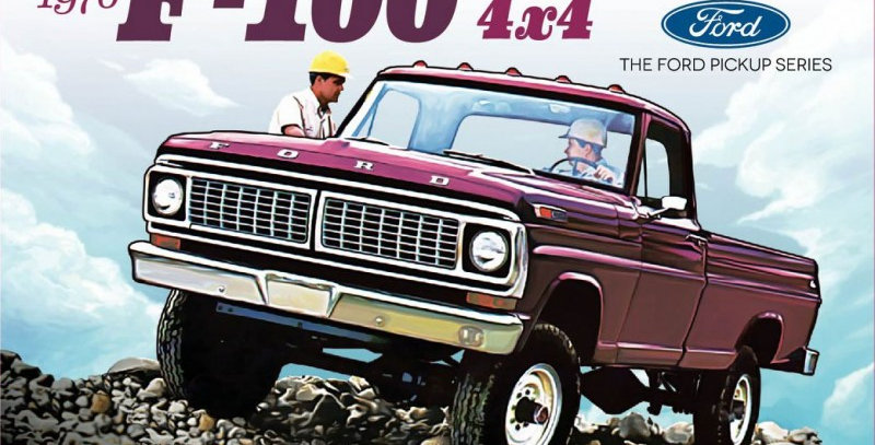 1/25 Scale 1970 Ford F-100 Custom 4x4 Pickup Plastic Model Kit