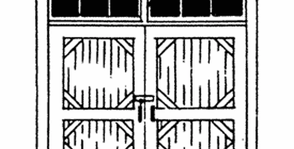 Double Freight door w/ 6 Pane Transom - 2363