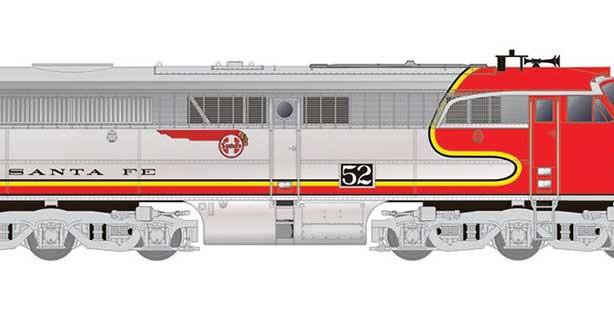 Alco PA1 - Standard DC -- Santa Fe 52L (Warbonnet, silver, red)