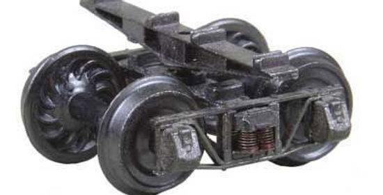 "HOn3 3'7"" Wheelbase Sprung Metal Trucks-26"" Ribbed-Back Wheels - 716"