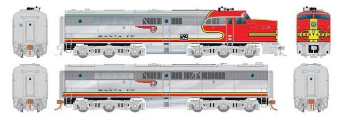 Alco PA1 - PB1 Set - Standard DC -- Santa Fe 54L, 54A (Warbonnet, silver, red)