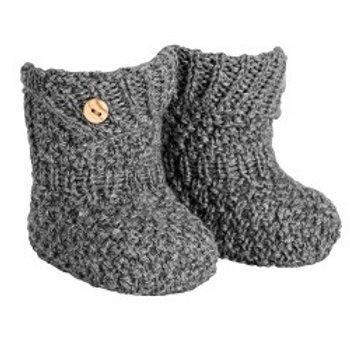 Patucos (Bota) con micro relieve en lana merino y mezcla