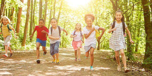Many children walk a long way during the hiking day in nature in summer.jpg