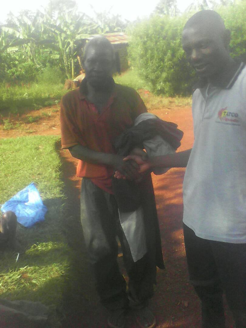 Giving out clothes for charity