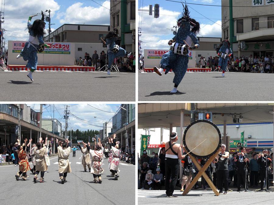 左上 右上 右下 綴子大太鼓保存会 獅子踊り  左下 縄文踊り
