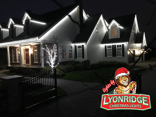 Professional Christmas light installation on a home in Langley, BC. Installation by Lyonridge Christmas Lights