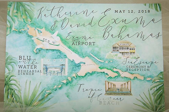 Custom watercolor + wedding map design