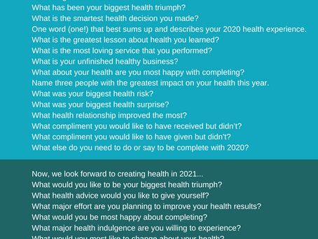 Looking Back, Aiming Forward - Your Personal Health Survey (2020) and Intentions (2021)