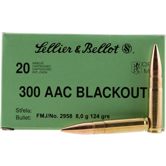 SELLIER & BELLOT 300 AAC BLACKOUT 124 GRAINS FMJ