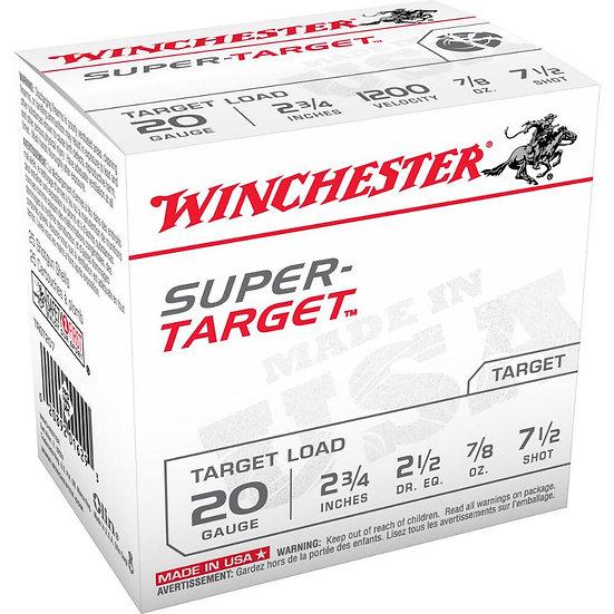 "WINCHESTER SUPER TARGET 20 GA. 2-3/4"" 7/8 OZ 7.5 SHOT, 2 1/2 DRAM"
