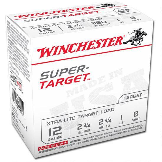 "WINCHESTER SUPER-TARGET 12 GA. 2-3/4"" 1 OZ 8 SHOT, 2 3/4 DRAM"