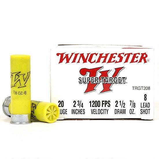 "WINCHESTER SUPER TARGET 20 GA. 2-3/4"" 7/8 OZ 8 SHOT, 2 1/2 DRAM"